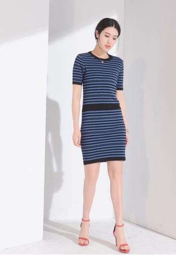 Zafiti blue Knit Short Sleeves Slip-on Dress F6C97AAE584A47GS_1