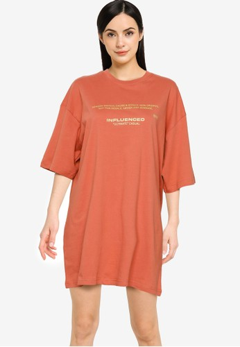 Public Desire pink Graphic Oversized T-Shirt Dress 0F9CAAAE6381ACGS_1