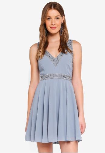 Angeleye grey V Neck Embellished Trim Dress BECBCAAA71ED74GS_1