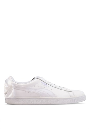 Puma white Sportstyle Prime Basket Bow Satin Women s Shoes  90FA0SH2A4F98CGS 1 9390683d8