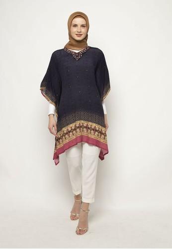 KASHKHA blue Short Poncho Viscose Digital All Over Print By Kashkha 42147AAD294288GS_1