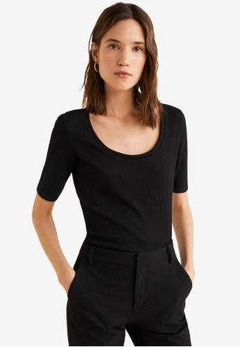 Mango black Ribbed T-Shirt 6AEBCAA9F7A057GS_1