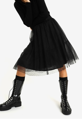 PIMKIE black Organza Midi Skirt 888E8AA9BABD5BGS_1