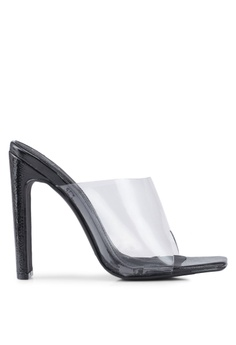 12737f40f8 MISSGUIDED black Square Toe Clear Illusion Patent Heels 9B393SHEB2BCDDGS_1