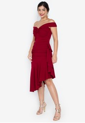 Madelaine Ongpauco Barlao red Harper Twisted Sweetheart Neckline Off Shoulder Draped Dress 3CB38AAB645A7AGS_1