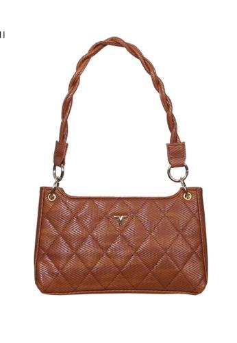 Verchini brown Verchini Textured Panelled Shoulder Bag 42701AC567994FGS_1