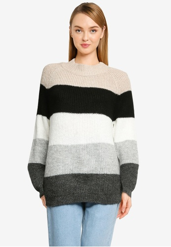 ONLY grey Jade Stripe Pullover 7709FAAE4FB117GS_1