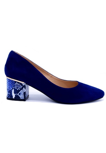 Toufie blue Aruba 50 Mid Heel Snake And Leather - Navy And Blue 3F0ACSHE0ECADDGS_1