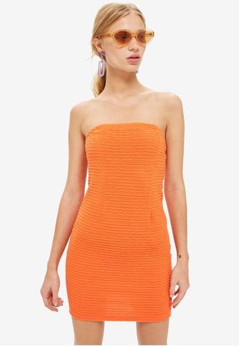 TOPSHOP orange Textured Tube Dress C8A11AA9042209GS_1
