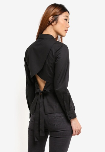 Something Borrowed black Wrapped Open Back Shirt 3642CAA1CF3427GS_1