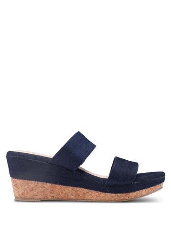 Bata 藍色 丹寧繞帶楔型涼鞋 0DC79SHC9D00A2GS_1
