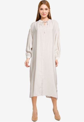 LOWRYS FARM white Ruched Midi Dress with Tie Collar 92536AA192A976GS_1