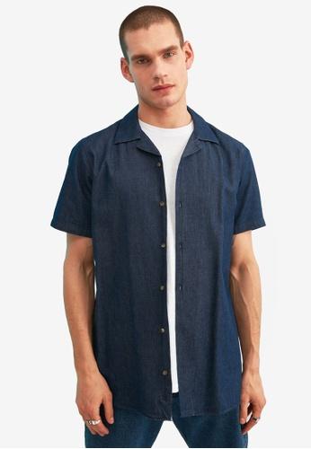 Trendyol navy Regular Fit Short Sleeve Denim Shirt 393ABAA7DF0B5EGS_1