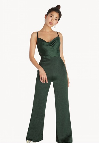 192b4278a419 Buy Pomelo Cami Satin Cowl Neck Jumpsuit - Green Online on ZALORA ...