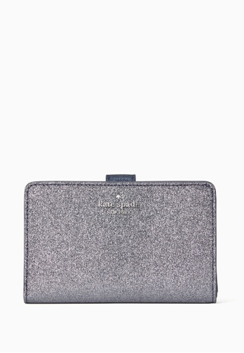 Kate Spade navy Kate Spade Lola Glitter Boxed Medium Compact Wallet - Dusk Navy CA029AC4D89576GS_1