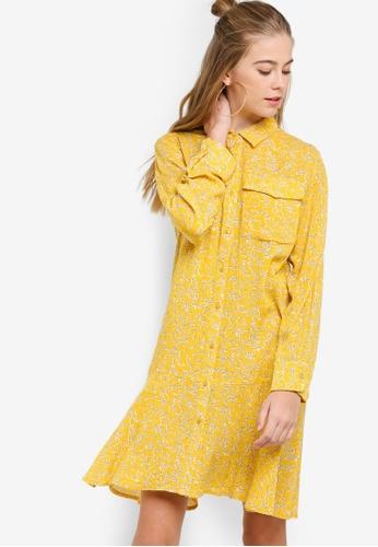 Something Borrowed yellow Fluted Hem Shirt Dress 0A8FAAA10A011BGS_1