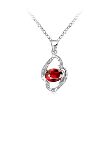 Glamorousky red Fashion Elegant Geometric Pendant with Red Cubic Zircon and Necklace A5ED9ACBF55286GS_1