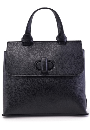 Vince black Minimalist Vegan Leather Black Tote with Sling Strap VI456AC13FMGMY_1