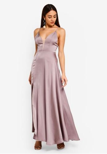 INDIKAH grey Cross Back Sateen Maxi Dress With Front Split 3B1C3AABE77953GS_1