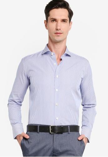 Sacoor Brothers blue Men's Striped Slim Fit Dublin Shirt 60E19AA687FFF9GS_1