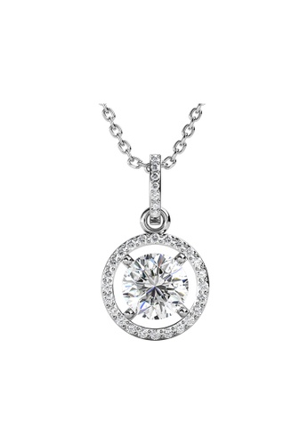 Her Jewellery silver CELÈSTA Moissanite Diamond  - Fantaisie Pendant (925 Silver with 18K White Gold Plating) with Necklace by Her Jewellery B5FEBAC8282657GS_1