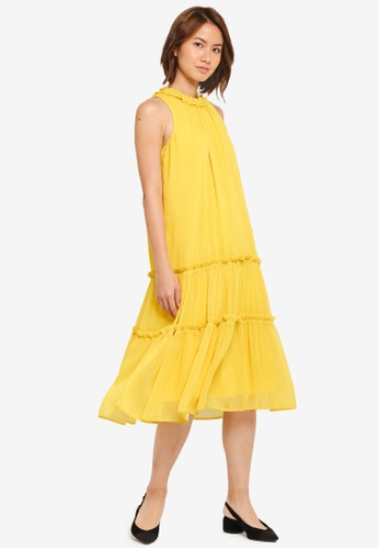 ZALORA yellow Multi-Tiered Midi Dress 3A504AA6689DD0GS_1