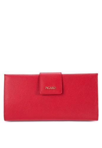 鈕esprit專櫃扣帶對折皮革長夾, 包, 錢包
