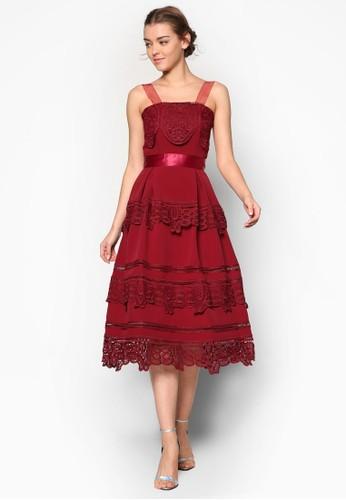 Lesprit 請人esley's 層次網帶蕾絲洋裝, 服飾, 洋裝