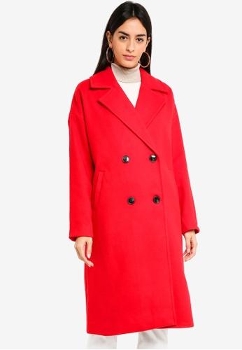 Vero Moda red Monday Cala Long Coat 2F87CAAC40D64BGS_1
