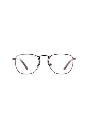 Kyfer's Eyewear & Essentials brown Rectangular College Metal Eyewear KY376AC65XKWSG_1