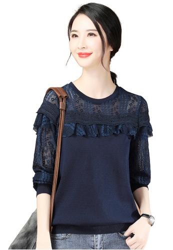 A-IN GIRLS navy Fashion Lace Stitching Sweater F72B1AA6F9EB42GS_1