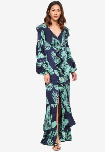 bYSI blue Floral Ruffle Slit Maxi Dress 778A3AA841AE30GS_1