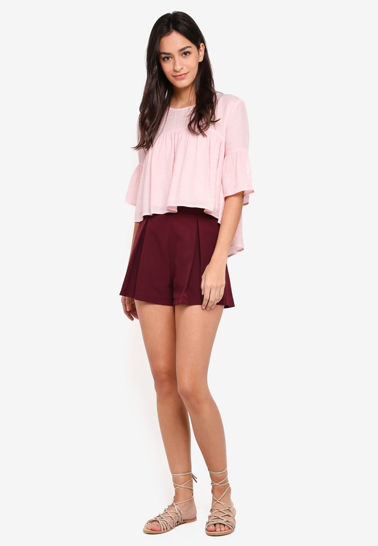 Borrowed Maroon Something Shorts Pleated Flare xU7Yvq0w