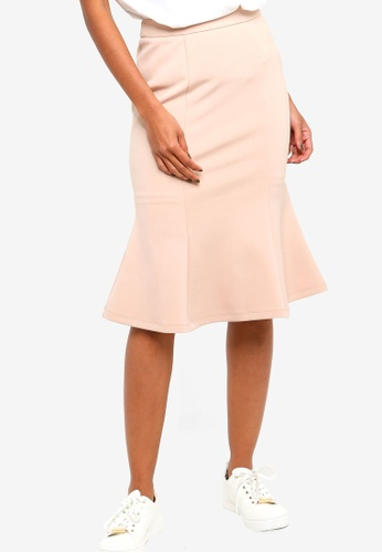 ZALORA BASICS beige Basic Mermaid Skirt 45EB1AAA9B6F90GS_1