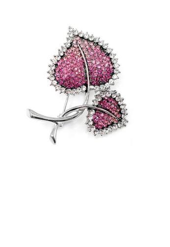 Glamorousky pink Elegant Leaf Brooch with Pink Austrian Element Crystal 71285AC59C3183GS_1