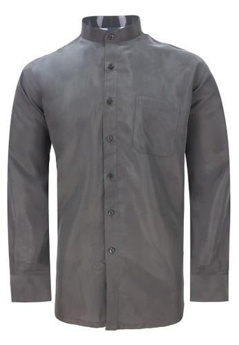 Pacolino brown Pacolino - Mandarin Collar Striped Formal Casual Long Sleeve Men Shirt 41C33AAB6D09B0GS_1