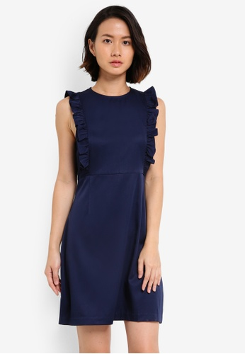ZALORA blue and navy Frill Detail Dress A9A7AAA53D5DAFGS_1