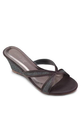 閃飾交叉帶楔形涼鞋, 女鞋, 楔形esprit台灣outlet涼鞋