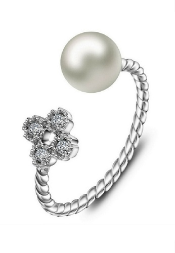 Vivere Rosse silver Pearl Blossom Adjustable Ring VI014AC65IZAMY_1