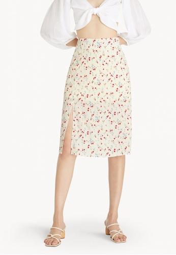 Pomelo white Floral Side Slit Midi Skirt - White B3B6FAA383E28EGS_1