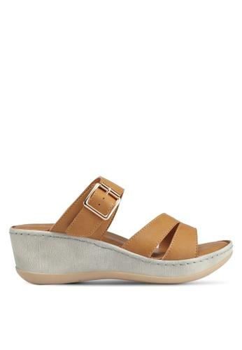 Bata 褐色 休閒繞帶楔型涼鞋 22ED1SH4DB98DBGS_1
