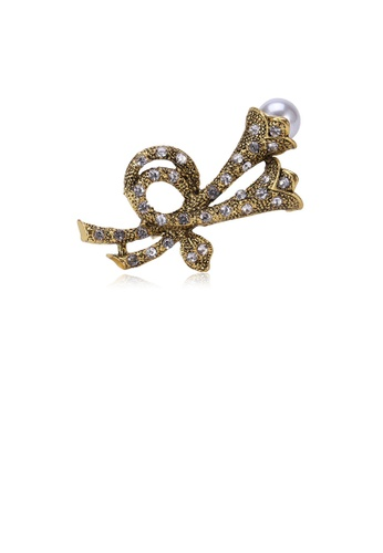 Glamorousky white Fashion and Simple Plated Gold Flower Imitation Pearl Brooch with Cubic Zirconia B189CACD4F8FF2GS_1