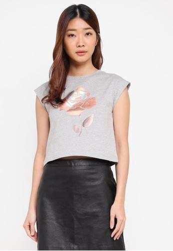Something Borrowed grey Drop Shoulder Tee with Rose Foil Print 5C50EAA2505223GS_1