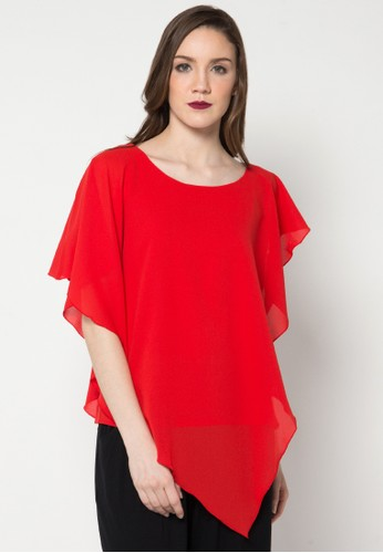 WHITEMODE red Grace Blouse WH193AA39ZRGID_1