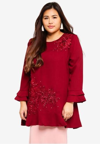 BYN red Plus Size Muslimah Blouse 2D5C9AACD4D3E9GS_1