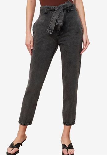 Trendyol black High Waist Belted Jeans C011CAAE2FCE35GS_1