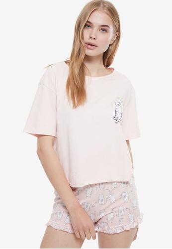 Trendyol pink Printed Pyjama Set 50116AAF6290BCGS_1