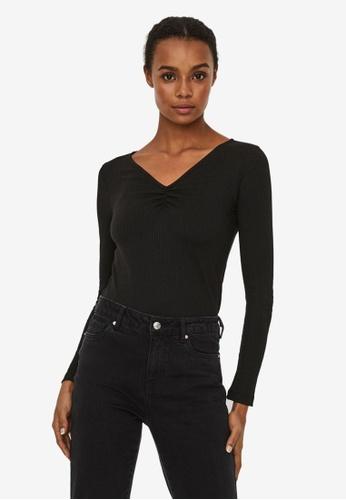 Vero Moda black Polly Long Sleeve V-Neck Top 65D96AA0D03923GS_1