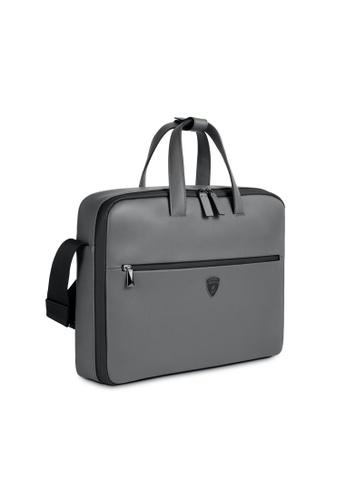 LAMBORGHINI Automobili Lamborghini® LMBG1 Grey Briefcase Calf Leather 44AA2AC1C1DA27GS_1