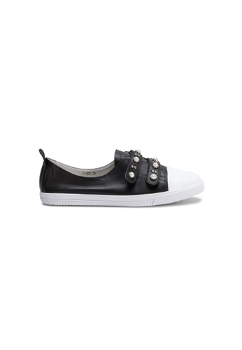 prettyFIT black Black Leather Embellished Grip-Tape Sneakers Jh-003A 73C81SHE11F9A6GS_1